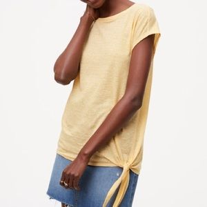 LOFT Tops - Loft Yellow Striped Side Tie Tee Shirt